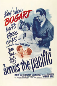 "Across the Pacific (Warner Brothers, 1942). One Sheet (27"" X 41""). Humphrey Bogart does his bit for the World..."