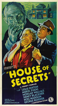 """House of Secrets (Chesterfield, 1937). Three Sheet (41"""" X 81""""). Beautiful stone litho poster art makes this ve..."""