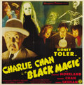 "Movie Posters:Mystery, Black Magic (1944) (Monogram, 1944). Six Sheet (81"" X 81""). SidneyToler as Charlie Chan makes an interesting departure from..."