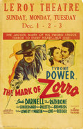 "Movie Posters:Swashbuckler, The Mark of Zorro (20th Century Fox, 1940). Window Card (14"" X 22""). Perhaps the best version of the tale of Zorro, this fil..."