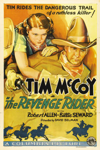 "The Revenge Rider (Columbia, 1935). One Sheet (27"" X 41""). A cross-pollination between Western and mystery, th..."