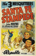 "Movie Posters:Western, Santa Fe Stampede (Republic, 1938). One Sheet (27"" X 41""). JohnWayne (Stony Brooke) is framed for murder. His fate hangs in..."