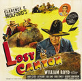 "Movie Posters:Western, Lost Canyon (United Artists, 1942). Six Sheet (81"" X 81""). William Boyd was ""Hopalong Cassidy"" for 66 pictures from 1935 to ..."