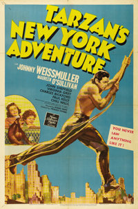 """Tarzan's New York Adventure (MGM, 1942). One Sheet (27"""" X 41"""") Style D. Fantastic graphics of Johnny Weissmull..."""