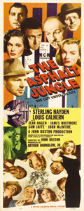 "Movie Posters:Film Noir, The Asphalt Jungle (MGM, 1950). Insert (14"" X 36""). This originalrelease insert poster boasts three different images of Mar..."