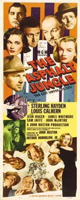 "The Asphalt Jungle (MGM, 1950). Insert (14"" X 36""). This original release insert poster boasts three different..."