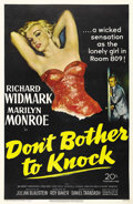 "Movie Posters:Drama, Don't Bother to Knock (20th Century Fox, 1952). One Sheet (27"" X41""). Marilyn Monroe attempted to break the mold of her sex..."