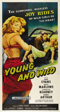 "Movie Posters:Drama, Young and Wild (Republic, 1958). Three Sheet (41"" X 81""). Classicexploitation artwork for this 50's juvenile delinquent fil..."
