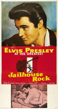 "Jailhouse Rock (MGM, 1957). Three Sheet (41"" X 81""). The perfect blending of plot and musical numbers makes th..."