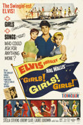 "Movie Posters:Elvis Presley, Girls! Girls! Girls! (Paramount, 1962). One Sheet (27"" X 41"") and Lobby Card Set of 8 (11""14""). Elvis Presley is in all eigh... (Total: 9 Items)"