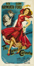 "Movie Posters:Drama, The Loves of Carmen (Columbia, 1948). Three Sheet (41"" X 81""). Whobetter to play ""Carmen"" than a Hollywood Goddess who had ..."