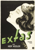 "Movie Posters:Romance, Ecstasy (Elektafilm A.S., 1933). Swedish One Sheet (27.5"" X 39.5"").Directed by: Gustav Machatý. Starring Hedy Kiesler (Hedy..."