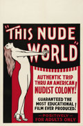 "Movie Posters:Documentary, This Nude World (Unknown, 1933). One Sheet (27"" X 41""). One of the earliest nudist documentaries, this film features footage..."