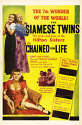"Movie Posters:Cult Classic, Chained For Life (Classic Pictures, 1951). One Sheet (27"" X 41"").The conjoined twins Violet Hilton and Daisy Hilton, also s..."