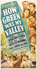 "Movie Posters:Drama, How Green Was My Valley (20th Century Fox, 1941). Three Sheet (41""X 81""). John Ford's sentimental story of a turn-of-the-ce..."