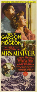 "Movie Posters:War, Mrs. Miniver (MGM, 1942). Insert (14"" X 36""). William Wyler directsthis Best Picture Oscar winner that looks at a typical B..."