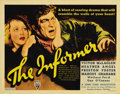 "Movie Posters:Drama, The Informer (RKO, 1935). Title Lobby Card (11"" X 14""). John Ford directs one of his darkest films with this Academy Award w..."