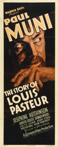 "Movie Posters:Drama, The Story of Louis Pasteur (Warner Brothers, 1935). Insert (14"" X36""). Striking image of Paul Muni in the title role for wh..."