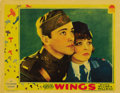 "Movie Posters:War, Wings (Paramount, 1927). Lobby Card (11"" X 14""). The first BestPicture Oscar winner soars as it follows WWI pilots Buddy Ro..."