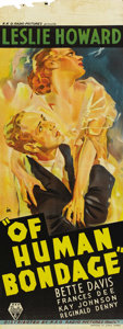 "Movie Posters:Drama, Of Human Bondage (RKO, 1934). Australian Daybill (14.5"" X 40"").This was the first of the three screen versions that were ba..."