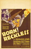 "Movie Posters:Crime, Born Reckless (Fox, 1930). Window Card (14"" X 22""). Stunning decoartwork for this hard-to-find early gangster film directed..."
