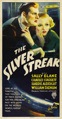 "The Silver Streak (RKO, 1934). Three Sheet (41"" X 81""). This beautiful poster is the rare large format for thi..."