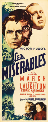"""Les Misérables (20th Century Fox, 1935). Insert (14"""" X 36""""). One of the early screen versions of Victor..."""