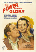 "Movie Posters:Drama, The Power and the Glory (Fox, 1933). One Sheet (27"" X 41"").Beautiful stone litho art of Spencer Tracy and Colleen Moore for..."