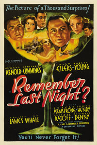 "Remember Last Night? (Universal, 1935). One Sheet (27"" X 41""). This one sheet features gorgeous images of Edwa..."
