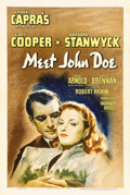 "Movie Posters:Drama, Meet John Doe (Warner Brothers, 1941). One Sheet (27"" X 41""). Greatartwork of Gary Cooper and Barbara Stanwyck highlights t..."