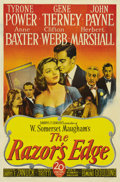 "Movie Posters:Drama, The Razor's Edge (20th Century Fox, 1946). One Sheet (27"" X 41"")Style A. Tyrone Power plays a disillusioned World War I vet..."