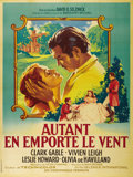 "Movie Posters:Academy Award Winner, Gone With the Wind (MGM, R-1955). French Grande (47"" X 63""). One ofthe better pieces available on this great title is the F..."