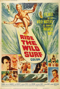 """Ride the Wild Surf (Columbia, 1964). Poster (40"""" X 60""""). Three surfer dudes (Fabian, Tab Hunter and Peter Brow..."""