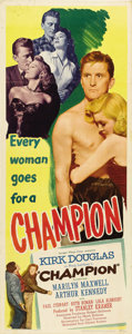"Movie Posters:Drama, Champion (United Artists, 1949). Insert (14"" X 36""). Kirk Douglas gives an incredible performance as Midge Kelly, a boxer wh..."