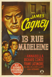 """13 Rue Madeleine (20th Century Fox, 1947). Australian One Sheet (27"""" X 40""""). James Cagney stars in this WWII s..."""