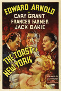 "Movie Posters:Drama, The Toast of New York (RKO, 1937). One Sheet (27"" X 41""). EdwardArnold (James 'Jim"" Fisk Jr.) is a endearing scoundrel who ..."