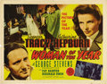 "Movie Posters:Romance, Woman of the Year (MGM, 1942). Half Sheet (22"" X 28""). SpencerTracy and Katharine Hepburn team up for the first time and it..."