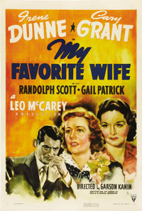 "My Favorite Wife (RKO, 1940). One Sheet (27"" X 41""). Husband and wife Cary Grant and Irene Dunne reunite after..."
