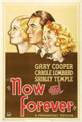 "Movie Posters:Drama, Now and Forever (Paramount, 1934). One Sheet (27"" X 41""). Classicprofile artwork of three true major Hollywood stars. Mino..."