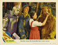 "Movie Posters:Musical, The Wizard of Oz (MGM, R-1949). Lobby Card (11"" X 14""). Makeup wasa problem on the set of ""The Wizard of Oz."" Ray Bolger, J..."