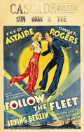 "Movie Posters:Musical, Follow the Fleet (RKO, 1936). Window Card (14"" X 22""). This RKOmusical was the fifth pairing of Fred Astaire and Ginger Rog..."
