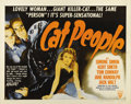 "Movie Posters:Horror, Cat People (RKO, R-1952). Half Sheet (22"" X 28""). The talents ofdirector Jacques Tourneur and producer Val Lewton in conjun..."