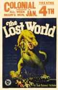 "Movie Posters:Science Fiction, The Lost World (First National, 1925). Window Card (14"" X 22"").Fantastic artwork of a Tyrannosaurus Rex attacking a London ..."