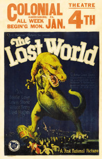 """The Lost World (First National, 1925). Window Card (14"""" X 22""""). Fantastic artwork of a Tyrannosaurus Rex attac..."""