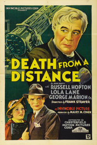 """Death from a Distance (Chesterfield, 1935). One Sheet (27"""" X 41""""). This low budget thriller from Invincible Pi..."""