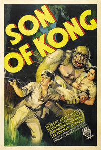"Son of Kong (RKO, 1933). One Sheet (27"" X 41""). Style B. Beautiful stone litho art of Kong Junior with Armstro..."