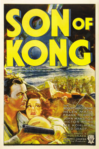 "Son of Kong (RKO, 1933). One Sheet (27"" X 41""). Style A. Beautiful poster for the sequel to one of the most po..."