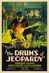 "Drums of Jeopardy (Tiffany, 1931). One Sheet (27"" X 41""). Warner Oland stars in this story of revenge as Dr. B..."