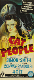 "Movie Posters:Horror, Cat People (RKO, 1942). Australian Daybill (13"" X 30""). Val Lewtonproduced this wonderful film on a modest budget and turne..."