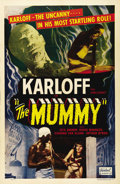 "Movie Posters:Horror, The Mummy (Realart, R-1951). One Sheet (27"" X 41""). Boris Karloff'ssecond great monster is Im-ho-tep, the mummy who returns..."